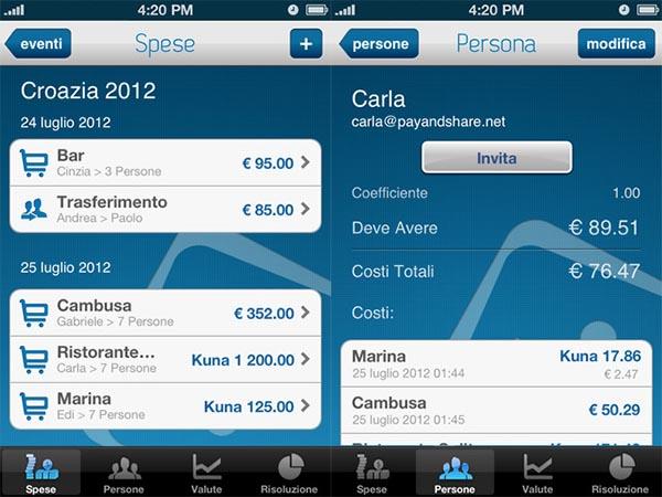Pay&Share: un'app da viaggio per tenere sotto controllo le spese in comitiva
