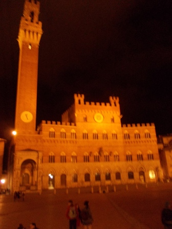 Siena by night in piazza del Campo
