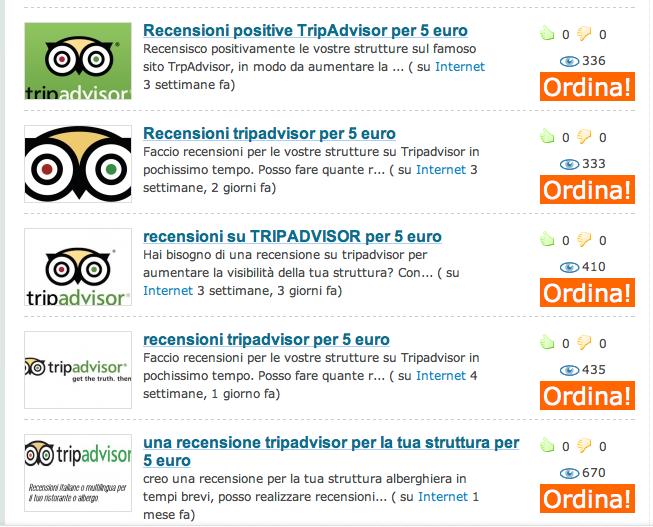 Su internet alcuni cercano di vendere false recensioni per portali