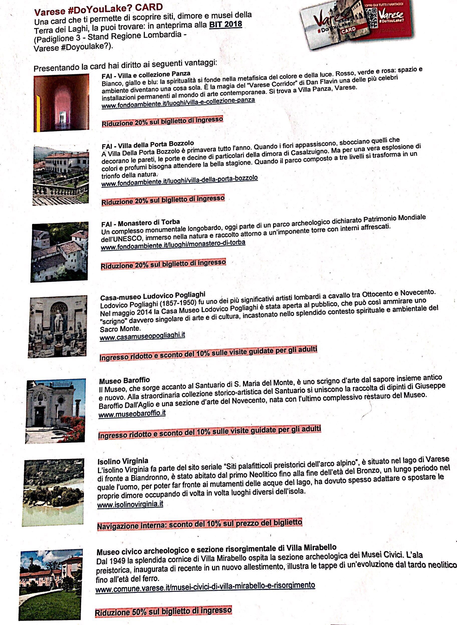 Varese doyoulake card lista sconti e promozioni
